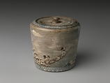 Water jar, Ogata Kenzan (Japanese, 1663–1743), Cylindrical, the flat cover inset; hard, light clay; bluish-gray glaze, streaked showing white underglaze; snowy landscape with figures in boat modeled in white and brown slip, in low relief; meander borders in white and blue (Tokyo ware), Japan