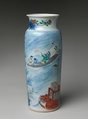 Vase with Scene from The Story of the Blue Robe, Porcelain painted with cobalt blue under and colored enamels over transparent glaze (Jingdezhen ware), China