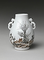 Vase with Scholar in a Landscape (one of a pair), Porcelain painted with sepia and colored enamels over a transparent glaze (Jingdezhen ware), China