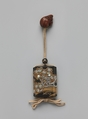 Case (Inrō) with Design of Maple Tree and Stream, In the style of Ogata Kōrin (Japanese, 1658–1716), Gold lacquer with dark gray ishime, gold, red, black, and silver makie, pewter, and mother-of-pearl; Ojime: bead with autumn wild flowers; Netsuke: rat eating peach; boxwood, Japan