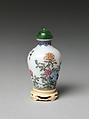 Snuff Bottle with Flowers and Rocks, Painted enamel on glass with nephrite stopper, China