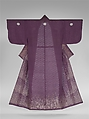 Unlined Kosode (Hitoe) with Grasses and Dewdrops, Resist-dyed plain-weave silk gauze (ro) embroidered with silk and metallic thread, Japan