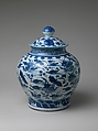 Jar with Ducks in Lotus Pond, Porcelain painted with cobalt blue under transparent glaze (Jingdezhen ware), China