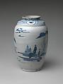 Jar with Landscape, Porcelain with underglaze blue (Hizen ware, early Imari type), Japan