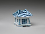 Water dropper in the shape of a house, Porcelain with underglaze blue, Korea
