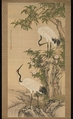 Cranes, Peach Tree, and Chinese Roses, After Shen Quan (Chinese, 1682–after 1762), Hanging scroll; ink and color on silk, China