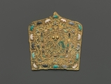 Ornamental Plaque, Gilt bronze, gold, lapis lazuli, turquoise, and white coral, China
