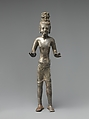 Standing Bodhisattva Maitreya, the Buddha of the Future, Bronze with high tin content, or silver alloy, Thailand (Buriram Province, Prakhon Chai)