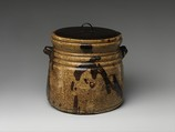 Water jar, Clay covered with glaze and iron-brown splashes; black lacquer cover (Ki [yellow] Seto ware), Japan