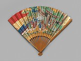 Chūkei Fan, Ink, color, and gold leaf on paper; bamboo and lacquer, Japan