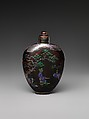 Snuff bottle with woman in a garden, Black lacquer inlaid with mother-of-pearl, China