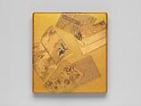 Writing Box (Suzuribako) with Books, Gold, silver togidashimaki-e, hiramaki-e, takamaki-e, cut-out gold foil application, Japan