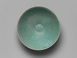 Bowl with Two Boys and Lotuses, Stoneware with mold-impressed decoration under celadon glaze, Korea