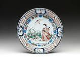 Plate Depicting Lady with a Parasol, Design attributed to Cornelis Pronk (Dutch, Amsterdam 1691–1759 Amsterdam), Porcelain painted with cobalt blue under and colored enamels over transparent glaze (Hizen ware; Imari type), Japan
