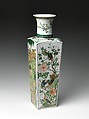 Vase with Flowers of the Four Seasons, Porcelain painted with colored enamels and gold over a transparent glaze (Jingdezhen ware), China
