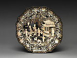Dish with Figures in a Landscape, probably a Scene from the Romance of the West Chamber ( Xixiang Ji ), Black lacquer with mother-of-pearl inlay, China