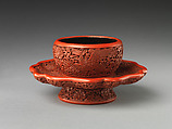 Tea-bowl stand with phoenixes, Carved red lacquer, China