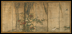 Hawks with Pine Trees and Camellias; Small Birds with Willows and Camellias, Attributed to Mitani Tōshuku (Japanese, 1577–1654), Pair of six-panel folding screens; ink and color on paper, Japan