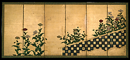 Red and White Poppies, Traditionally attributed to Tosa Mitsumochi (active 1525–ca. 1559), Six-panel folding screen; ink, color, and gold leaf on paper , Japan