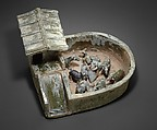 Animal Pen with Figures, Earthenware with green lead glaze, China