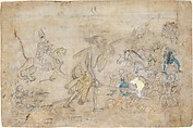 Durga and Kali Approach the Gathered Armies of Chanda and Munda: Scene from the Devi Mahatmya, Ink and opaque watercolor on paper, India (Himachal Pradesh, Guler)