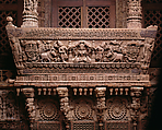 Architectural Ensemble from a Jain Meeting Hall, Teak with traces of color, India (Gujarat, Patan)
