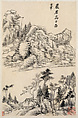 Landscapes after old masters, Dong Qichang (Chinese, 1555–1636), Album of eight leaves; ink on paper, China