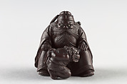 Netsuke of Man with a Demon on a Chain, Wood, Japan