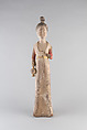 Standing Female Attendant, Wood with pigments, China