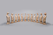 Set of Twelve Zodiac Animals, Earthenware with white slip, China