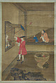 European Couple and Child Playing with Parrot, Unidentified Artist Chinese, 18th century, Hanging scroll; ink and color on silk, China