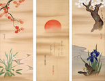 The Rising Sun with Flowers and Trees of the Four Seasons, Sakai Hōitsu (Japanese, 1761–1828), Triptych of hanging scrolls; ink and color on silk, Japan