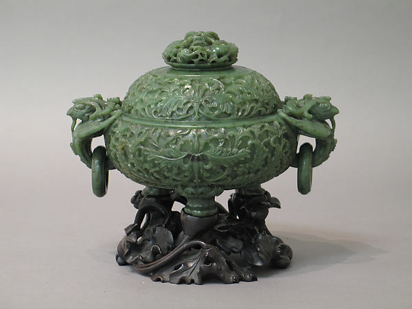 Incense burner with cover, Jade (nephrite), China
