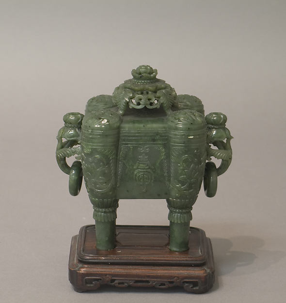 Incense burner with cover, Nephrite, China