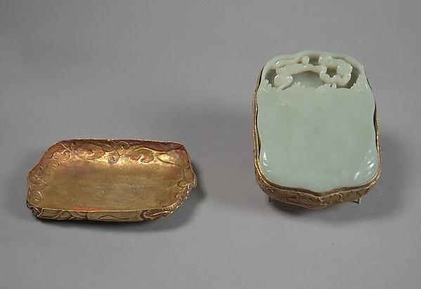 Ink palette, Jade (nephrite), silver (case), China