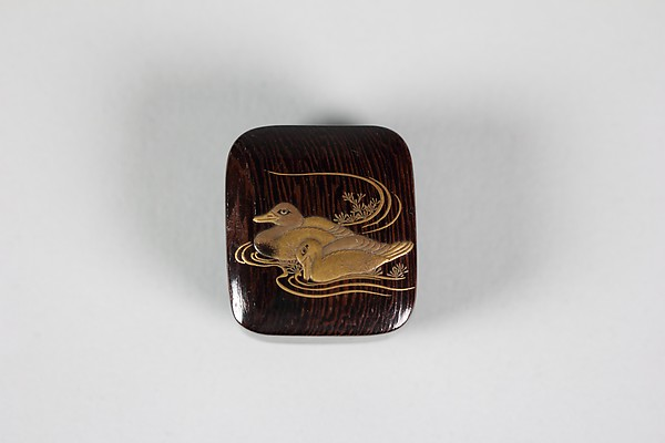 Netsuke of Two Ducks Swimming, Wood, duck in gold lacquer, Japan
