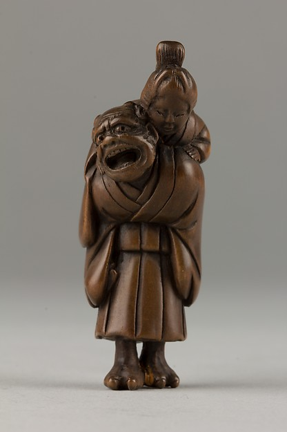 Netsuke of Demon Carrying a Woman on His Shoulders, Wood, Japan