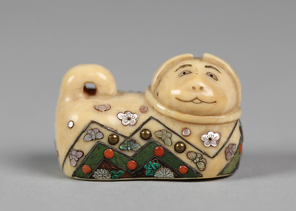 Dog Amulet (Inu Hariko), Shitayama, Ivory inlaid with mother-of-pearl, metal and cloisonné, Japan