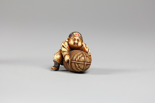 Netsuke, Ivory inlaid with mother-of-pearl and coral, Japan