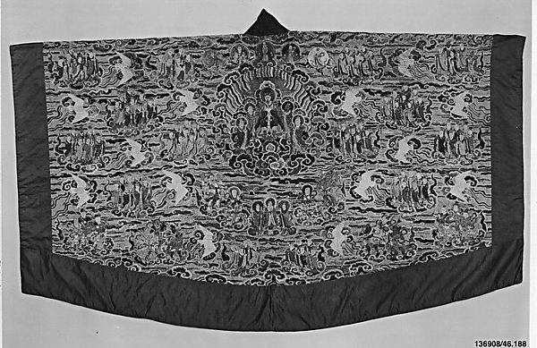 Daoist Robe of Descent (Jiang yi), Silk and metallic thread embroidery on silk satin damask, China