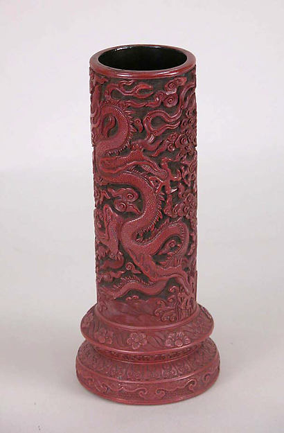 Brush holder with dragons and clouds, Carved red lacquer, China