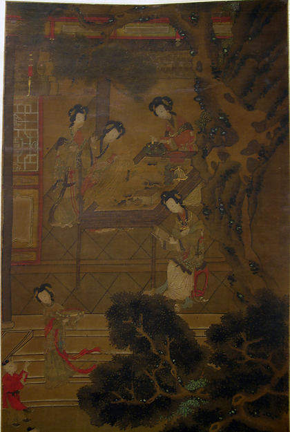 Women in Garden, Unidentified Artist, Hanging scroll; ink and color on silk, China