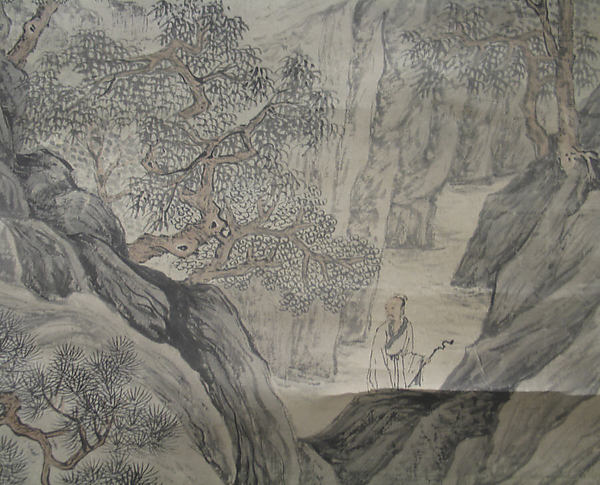 Scholar Admiring Autumn Scenery, Unidentified Artist, Hanging scroll; ink and color on paper, China