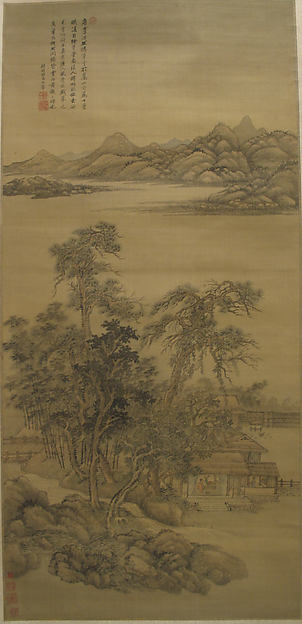Landscape in the Style of Li Gonglin, In the Style of Wang Hui (Chinese, 1632–1717), Hanging scroll; ink and color on silk, China