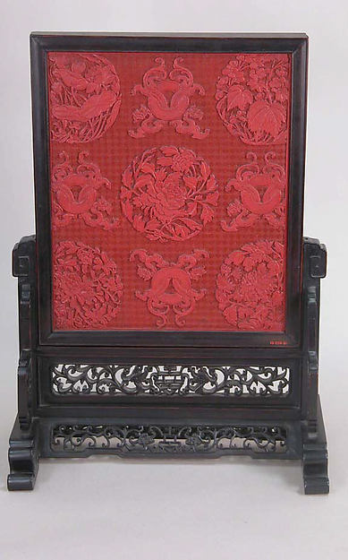 Table screen, Red lacquer, China