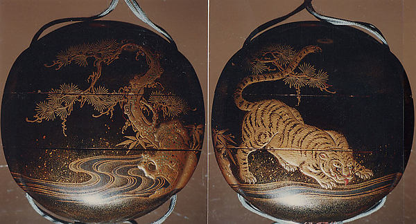 Inrō with Tiger Drinking from a River beside Rocks and Pine Tree, Two cases; lacquered wood with gold and silver togidashimaki-e, hiramaki-e, takamaki-e, cut-out gold foil application on black groundNetsuke: bat; carved walrus ivoryOjime: coral bead, Japan