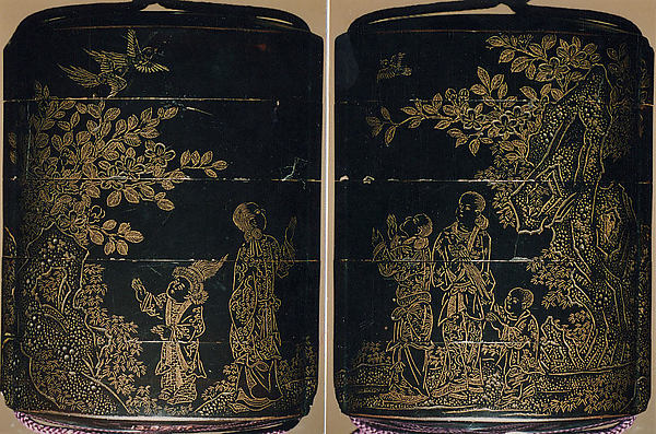 Case (Inrō) with Design of Chinese Women at Court, Roiro (waxen) lacquer decorated with incised gold; Ojime: stone bead, Netsuke: carved ebony monkey, Japan