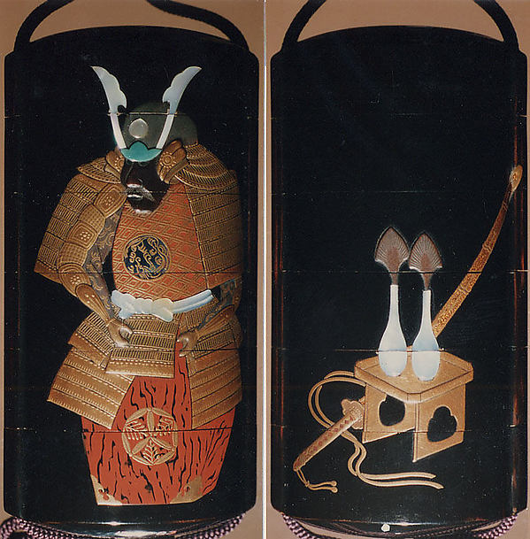 Case (Inrō) with Design of a Suit of Armor (obverse); Flasks for Boys Festival (reverse), Yamada Jōkasai (1681–1704), Gold and colored lacquer with inlaid mother-of-pearl on ro-iro black lacquer; ojime: metal bead inlaid with silver; netsuke: carved ebony inlaid with ivory design of Daruma, Japan