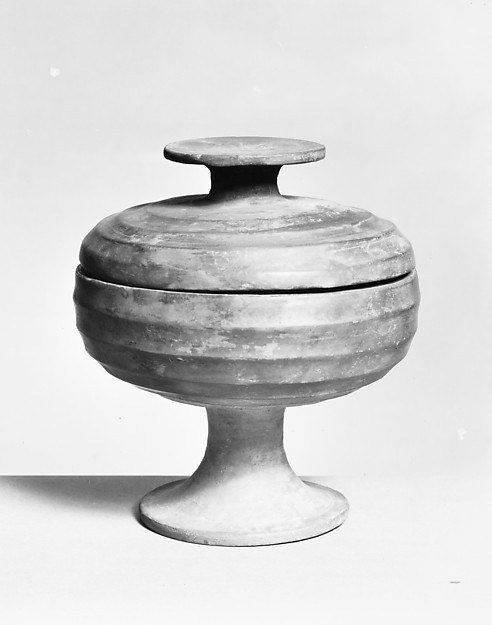 Stemmed Grain Serving Vessel (Dou), Earthenware with pigment, China