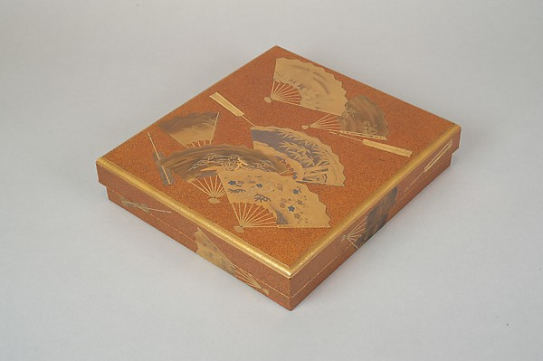 Writing Box (Suzuribako) with Design of Fans, Gold and silver maki-e on gold-sprinkled lacquer, Japan